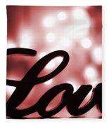 Love Sign With Red Sparkle Fleece Blanket