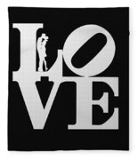 Love Typography And Kissing Couple Fleece Blanket