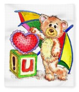 Love You Teddy Bear Fleece Blanket