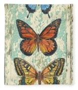 Lovely Butterfly Trio On Tin Tile Fleece Blanket
