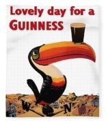 Lovely Day For A Guinness Fleece Blanket by Georgia Fowler
