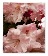 Lovely Pink Rhododendrons With Border Fleece Blanket