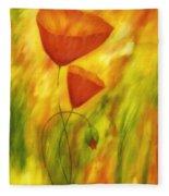Lovely Poppies Fleece Blanket