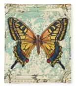 Lovely Yellow Butterfly On Tin Tile Fleece Blanket