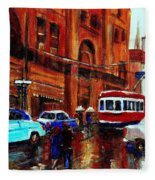 Lovers In The Rain Stroll St Catherine Street Near Morgans Department Store Vintage City Scene Art Fleece Blanket