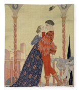 Lovers On A Balcony  Fleece Blanket