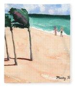 Lovers On The Beach Fleece Blanket
