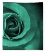 Love's Eternal Teal Green Rose Fleece Blanket
