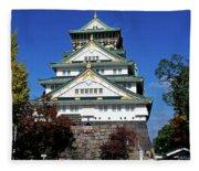 Low Angle View Of The Osaka Castle Fleece Blanket