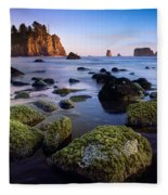 Low Tide At Second Beach Fleece Blanket
