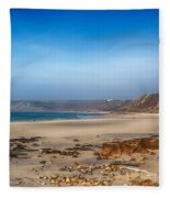 Low Tide At Sennen Cove Fleece Blanket
