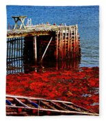 Low Tide - Red Seaweed - Fishing - Moratorium Fleece Blanket