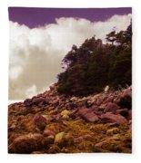 Low Tide Shoreline Closeup With Clouds Fleece Blanket