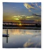 Lowcountry Marina Sunset Fleece Blanket
