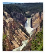 Lower Falls Of Yellowstone Fleece Blanket
