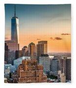 Lower Manhattan At Sunset Fleece Blanket