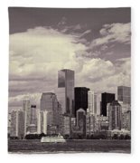 Lower Manhattan Skyline 2 Fleece Blanket