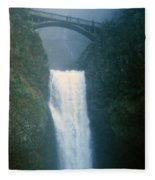 Lower Multnomah Falls Through The Mist Fleece Blanket