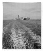 Lower New York In Black And White Fleece Blanket