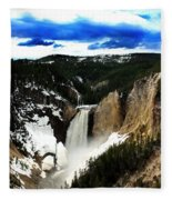 Lower Yellowstone Falls Fleece Blanket
