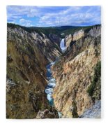 Lower Yellowstone Falls Panorama Fleece Blanket