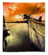 Lsu Shrimp Boat Fleece Blanket