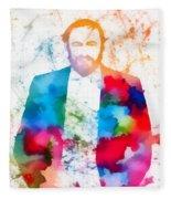 Luciano Pavarotti Paint Splatter Fleece Blanket