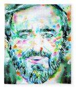 Luciano Pavarotti - Watercolor Portrait Fleece Blanket