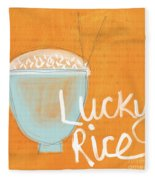 Lucky Rice Fleece Blanket by Linda Woods
