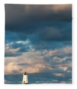 Ludington North Breakwater Lighthouse At Sunrise Fleece Blanket