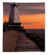 Ludington Pier And Lighthouse Fleece Blanket