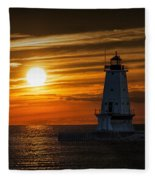 Ludington Pier Lighthead At Sunset Fleece Blanket