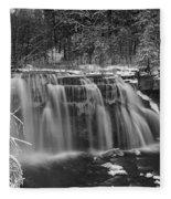 Ludlowville Falls In Winter I Fleece Blanket