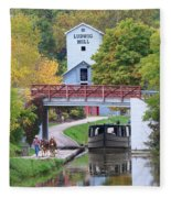 Ludwig Mill And Canal Boat  1480 Fleece Blanket