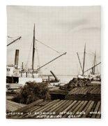 Lumber Steamers Unloading At Redwood Mfg. Co.s Wharf Pittsburg Circa 1920 Fleece Blanket
