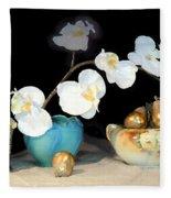 Luminous Watercolor Orchids Fleece Blanket