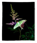 Luna Moth Astilby Flower  Fleece Blanket