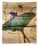 Luna Moth Worm Wood  Fleece Blanket
