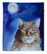 Lunar Cat Fleece Blanket