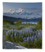 Lupine And Mount Elias Fleece Blanket
