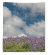 Lupine Field Under Clouds Fleece Blanket