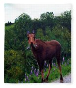 Lupine Loving Moose Fleece Blanket