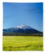 Lush Green Meadow And Mount Bachelor Fleece Blanket
