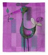 Lutgarde's Bird - 061109106-purple Fleece Blanket