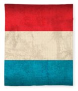Luxembourg Flag Vintage Distressed Finish Fleece Blanket