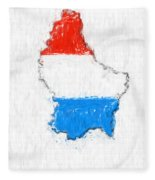 Luxembourg Painted Flag Map Fleece Blanket