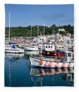 Lyme Regis Harbour On A July Morning Fleece Blanket