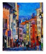Lyon Colorful Cityscape Fleece Blanket