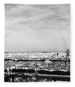 Lyon From The Basilique De Fourviere-bw Fleece Blanket
