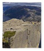 Lysefjord With Prekestolen Fleece Blanket